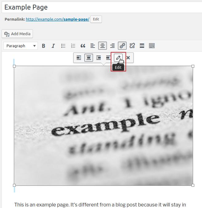 wordpress replacing images media image edit menu pencil icon