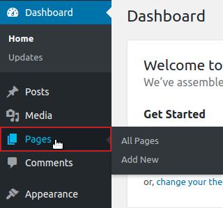 wordpress replacing images wp dashboard pages menu option