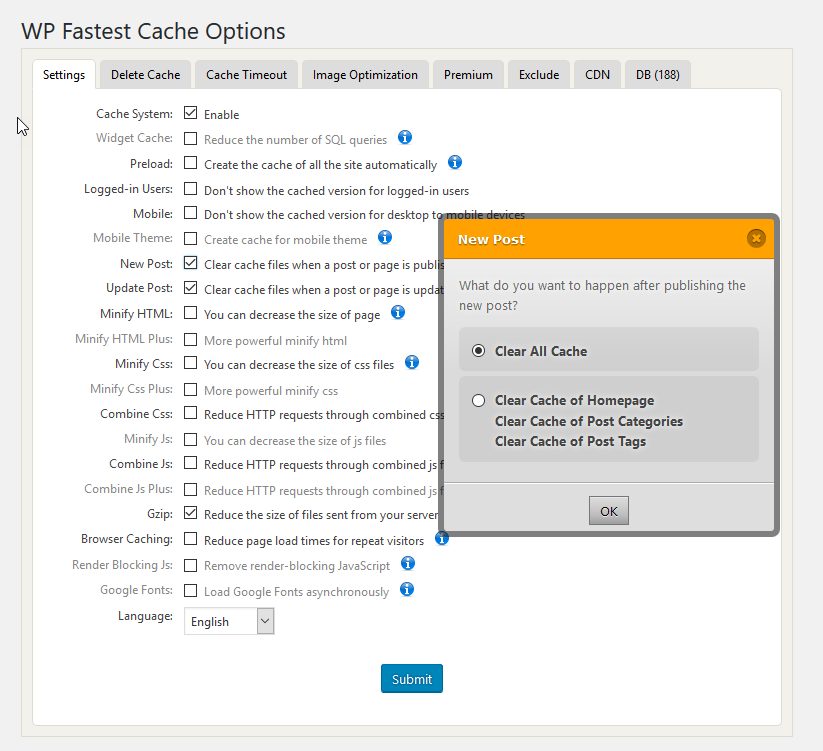 wp fastest cache wp fastest cache options