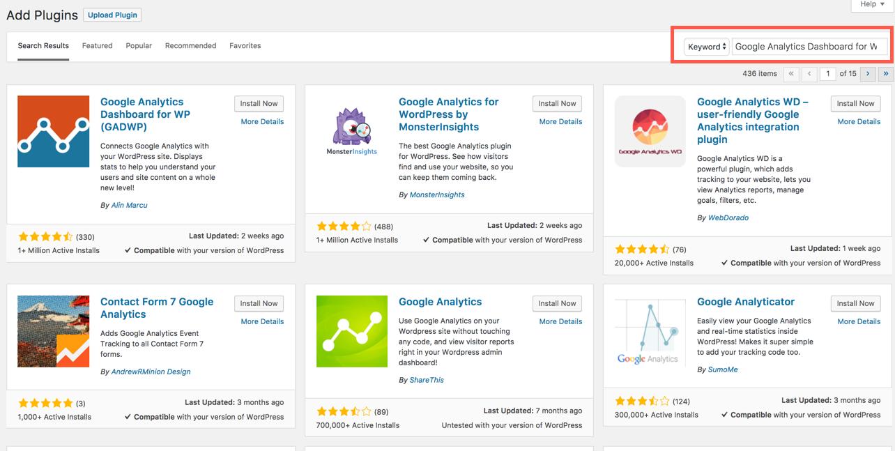 Search for Google Analytics dashboard plugin