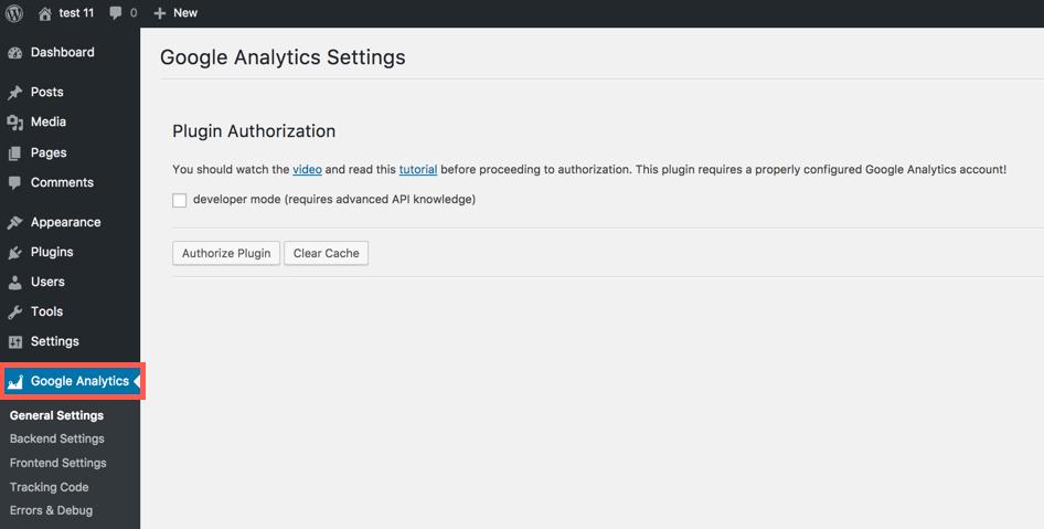 Google Analytics in menu