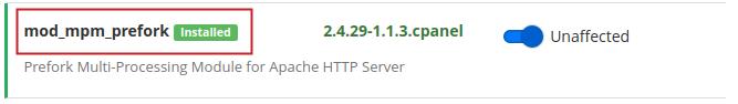 Apache MPM mod_mpm_prefork green Installed icon highlighted