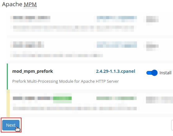 Apache MPM section Next button highlighted