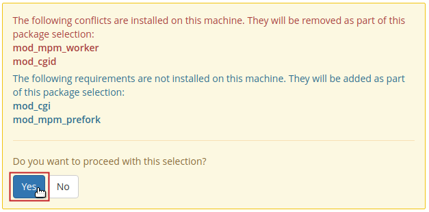 Apache MPM package selection conflict warning message