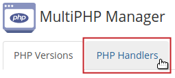 MultiPHP Manager PHP Handlers tab highlighted