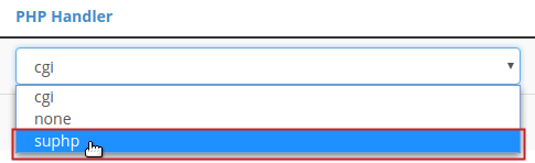 PHP Handler drop-down menu suphp selection highlighted
