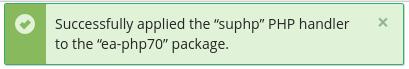 PHP Handler successful status message displayed