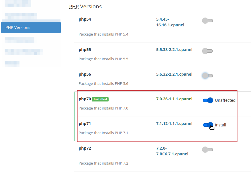 PHP Versions toggle buttons highlighted