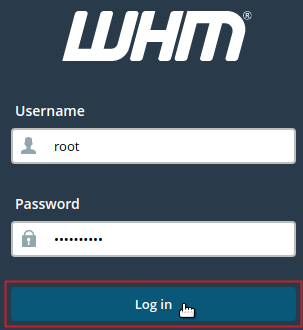 WHM login screen, Username root, Password field filled, and Log in button highlighted