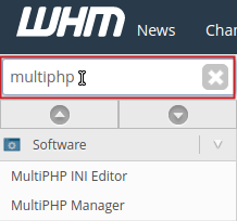 WHM Search field contains multiphp and highlighted