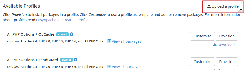 Available Profiles section Upload a profile button highlighted
