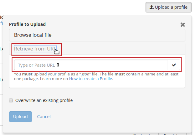 Upload a profile pop-up Retreive from URL button and field to type/paste URL into highlighted
