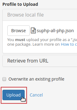 Upload a profile Upload button highlighted