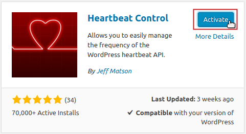 Heartbeat Control plugin by Jeff Matson Activate button highlighted