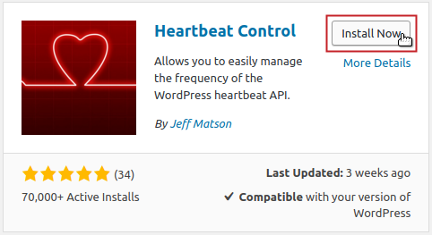 Heartbeat Control plugin by Jeff Matson Install Now button highlighted