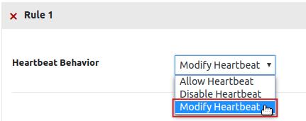 Heartbeat Control Settings Heartbeat Behavior drop-down menu Modify Heartbeat option highlighted