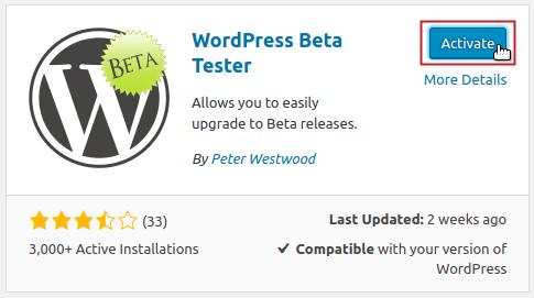 WordPress Beta Tester plugin Activate button highlighted