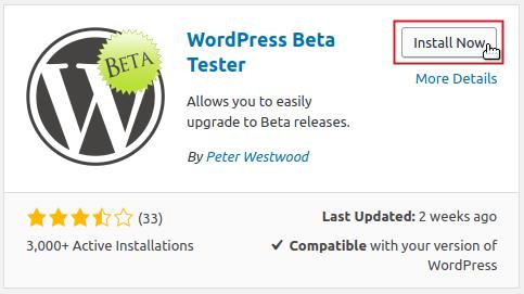 WordPress Beta Tester plugin Install Now button highlighted