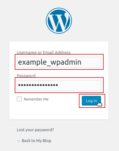 WordPress username and password fields filled in and login button highlighted