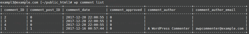 wp comment list command example output