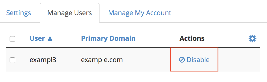 WHM Two-Factor Authentication Manage Users Disable link next to exampl3 user highlighted.