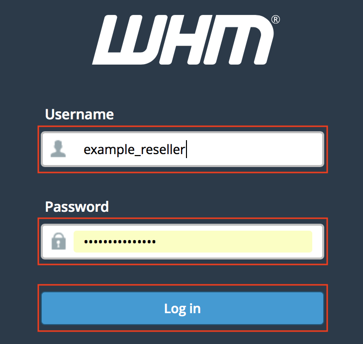 WHM login page username and password fields and Login button highlighted.