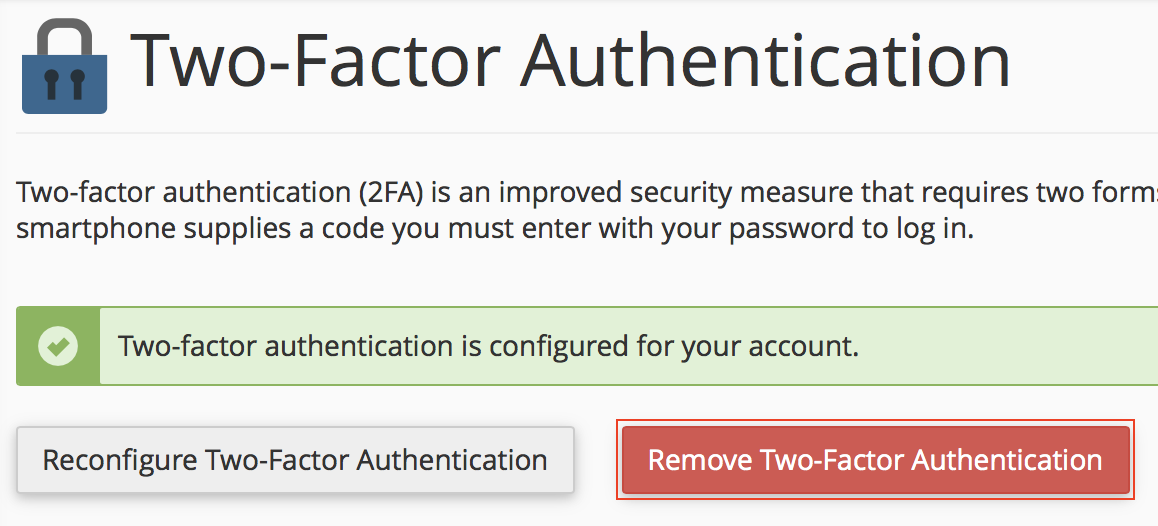 cPanel Two-Factor Authentication Remove Two-Factor Authentication button highlighted.