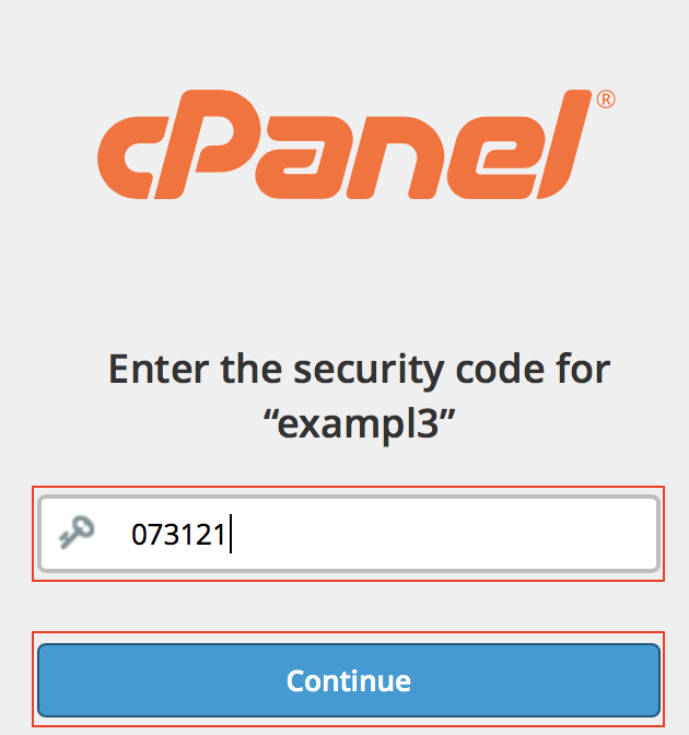 cPanel 2FA Security Code field and Continue button highlighted