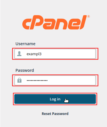 cPanel login screen displayed with user name and password fields and Login button highlighted.