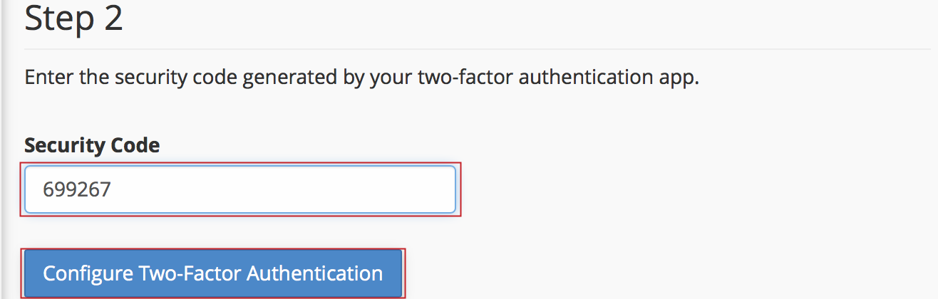 Set Up 2FA QR Code Security Code and Two-Factor Authentication button highlighted.