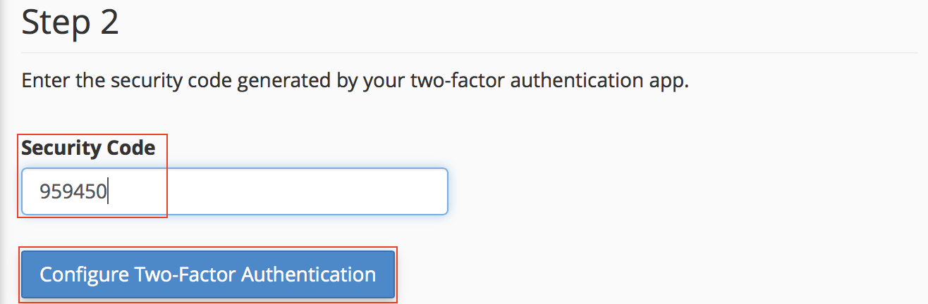 Set Up 2FA Manual Entry Security Code and Two-Factor Authentication button highlighted.