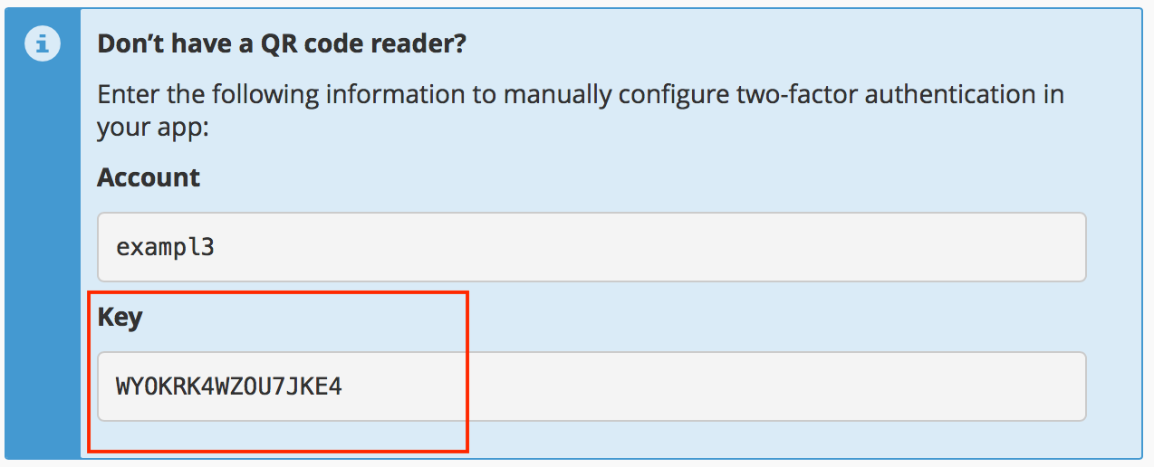 cPanel Set Up Two-Factor Authentication Manual Entry Key field highlighted.