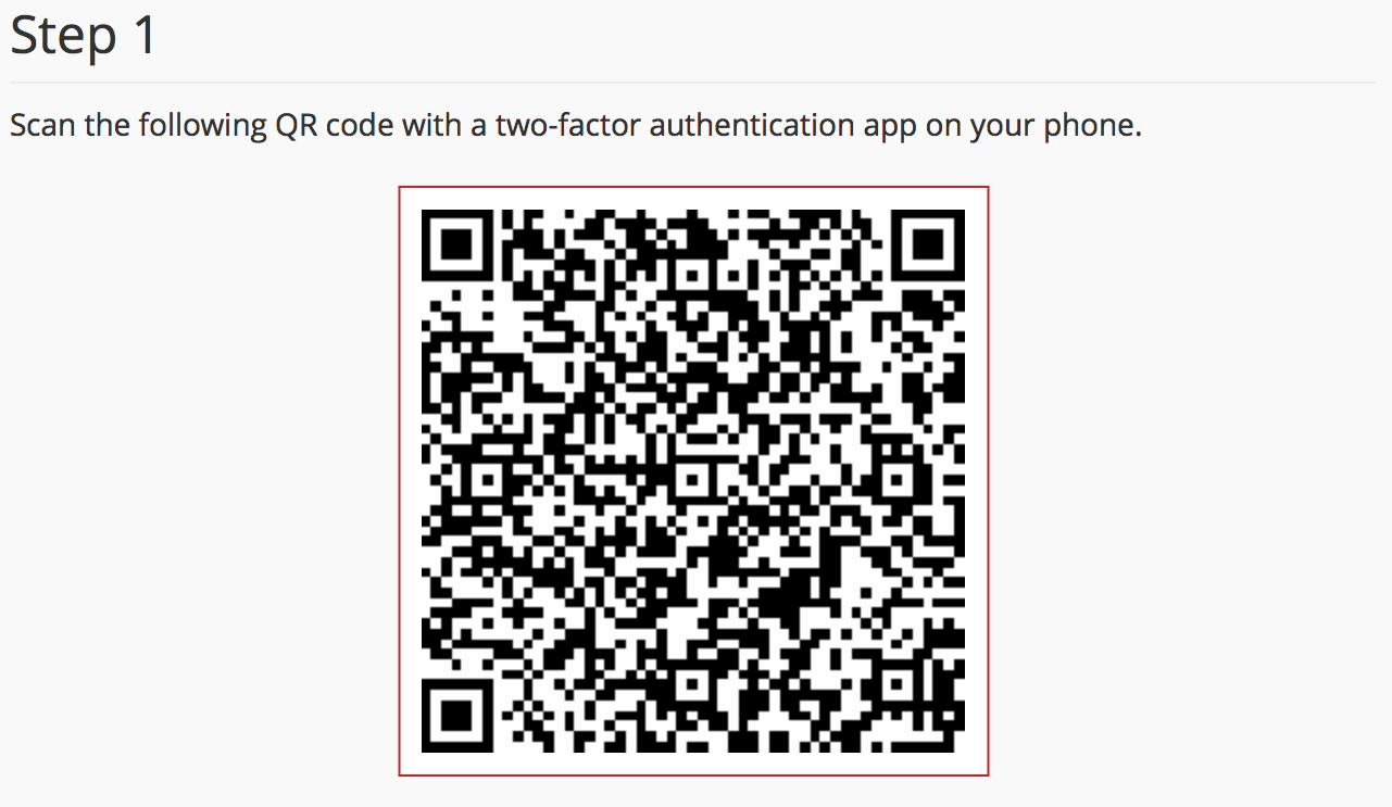 cPanel Set Up Two-Factor Authentication QR Code highlighted