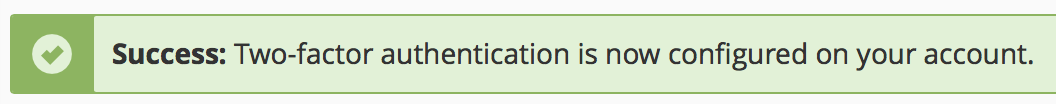 cPanel Set Up Two-Factor Authentication success message displayed.
