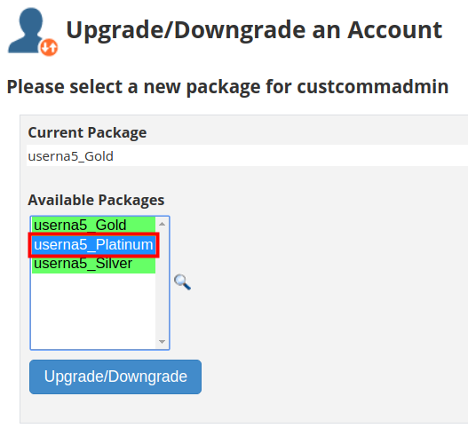 reseller whm packages assigning package