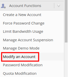 reseller whm packages modify an account