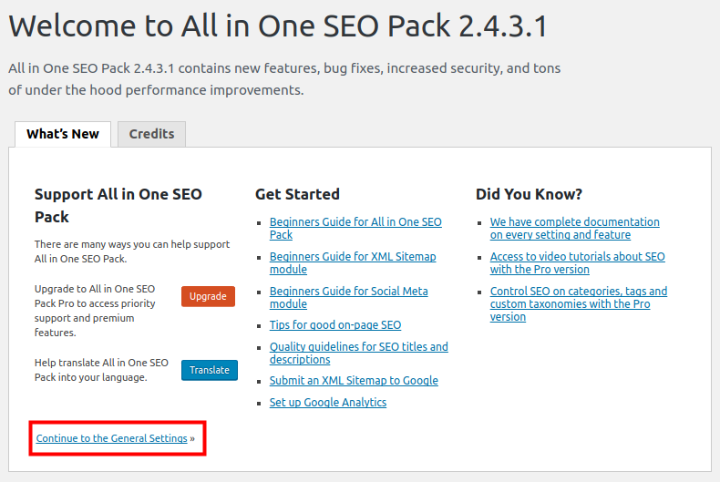 Welcome page for All In One SEO Pack