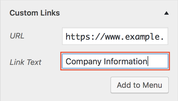 Add Items Custom Links Link Text field contains Company Information and is highlighted.