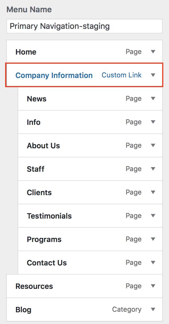 Company Information Custom Links item highlighted.