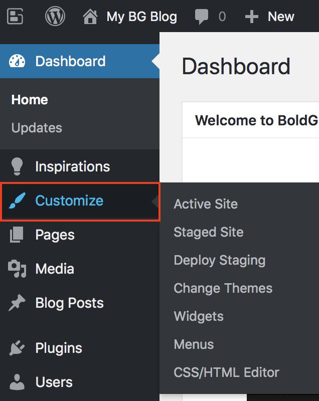 Customize menu option highlighted.