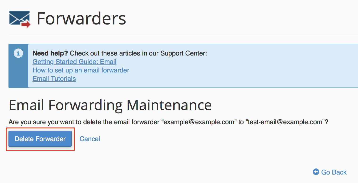 cPanel Email Forwarding Maintenance confirmation page displayed with Delete Forwarder button highlighted.