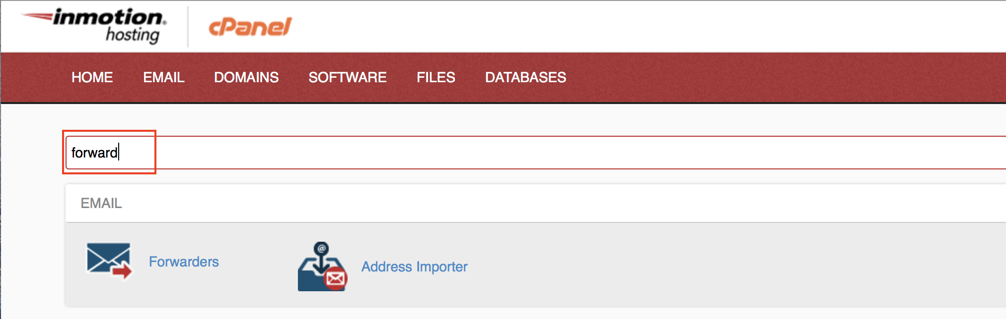 cPanel search bar contains the term 'forward' and is highlighted.