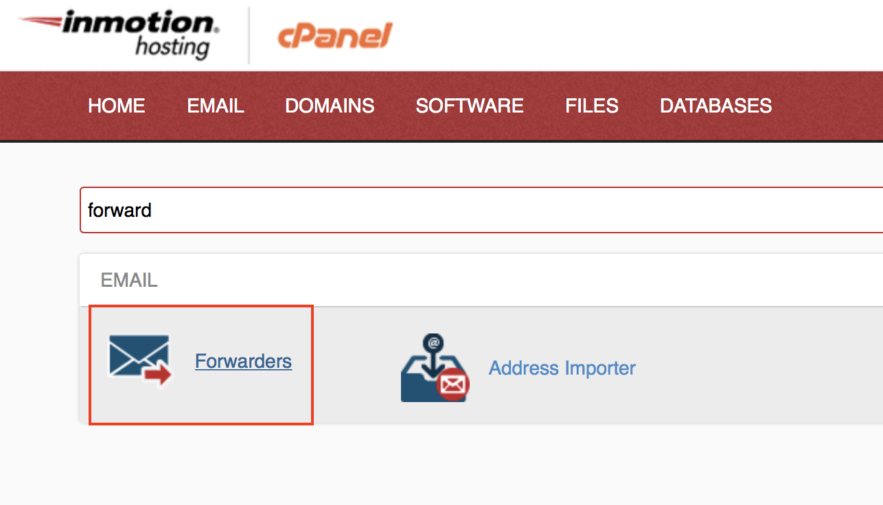 cPanel Email section displaying Forwarders icon highlighted.
