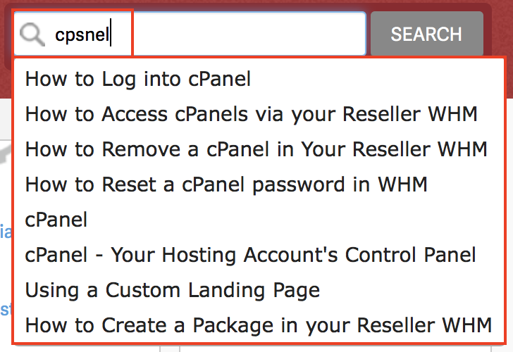 InMotion Hosting Support Center Search displaying misspelling of cPanel still displaying search results.