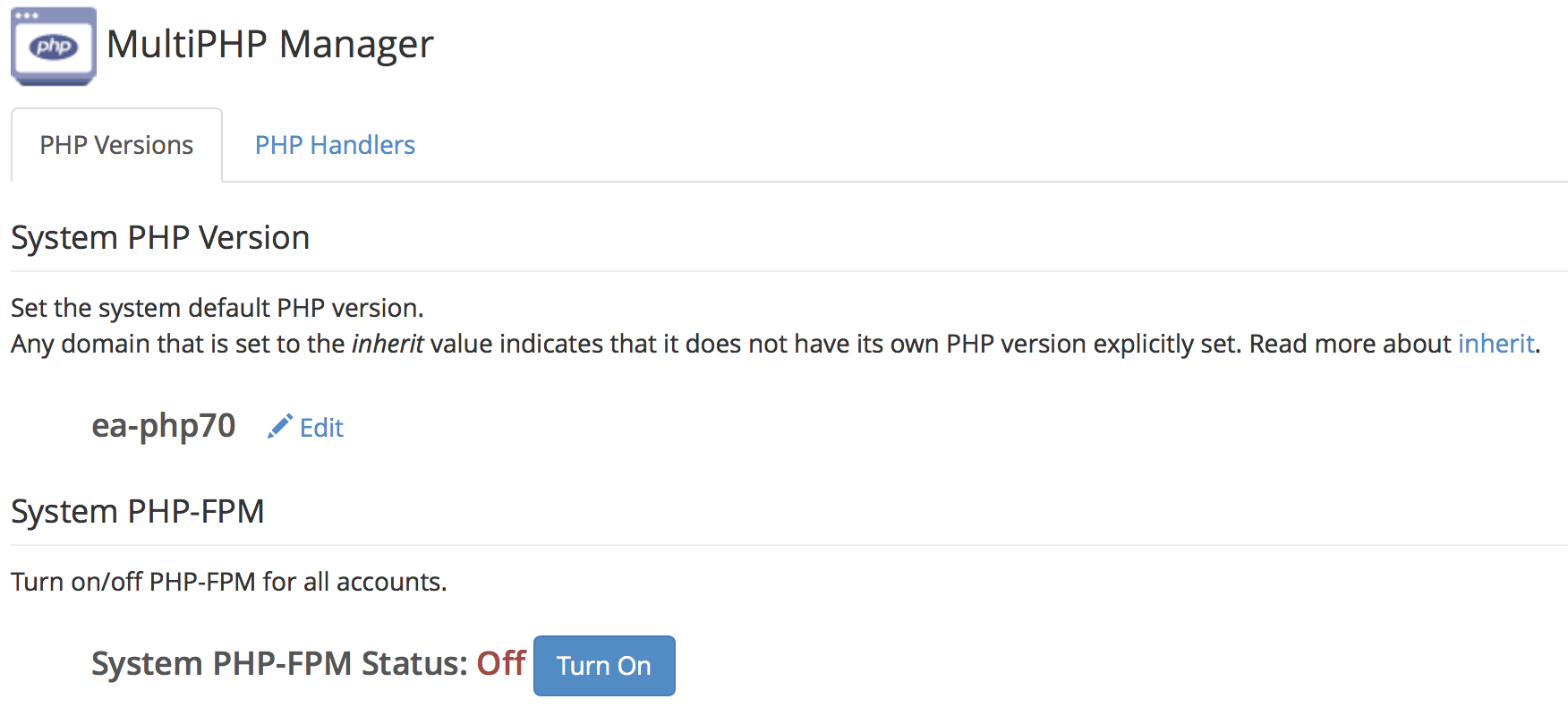 WHM MultiPHP Manager PHP-FPM page without messages.