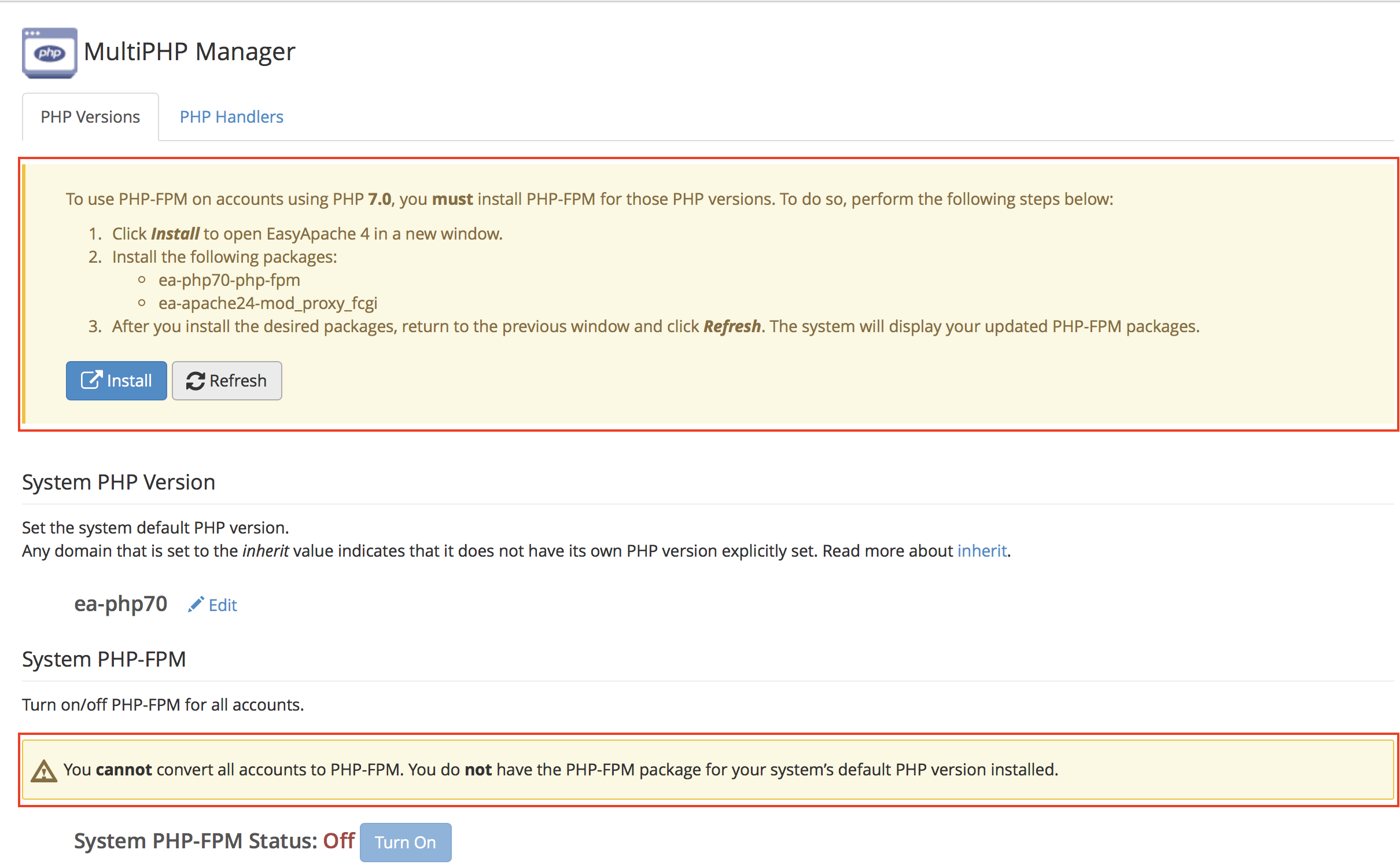 WHM MultiPHP Manager PHP-FPM page with messages highlighted.