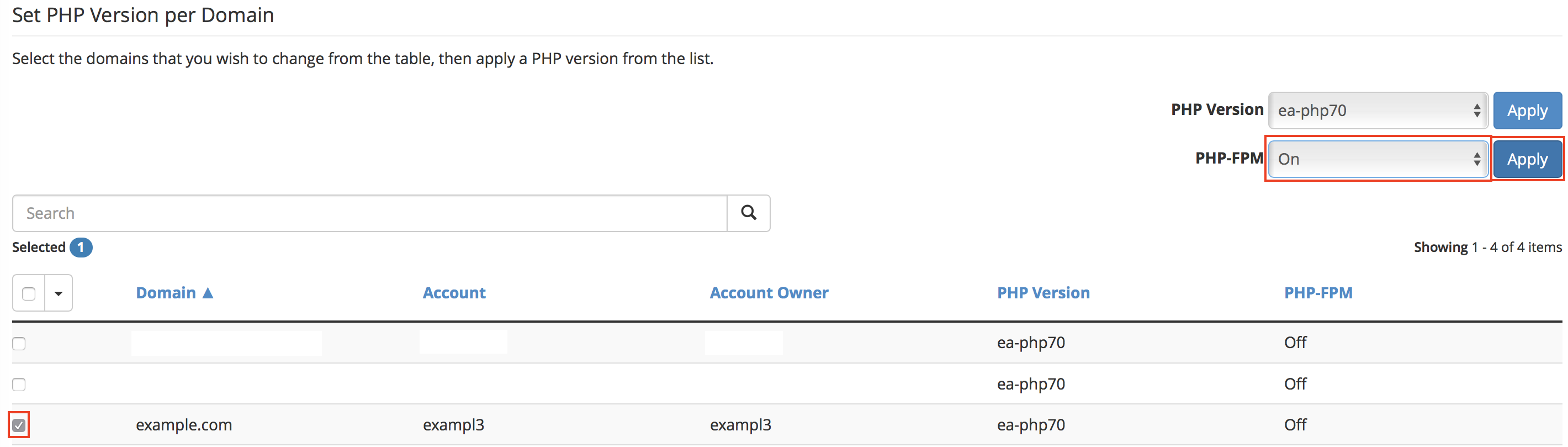 Set PHP Version per Domain with checkbox for domain: example.com selected, drop-down menu for PHP-FPM On option selected, and Apply button highlighted.