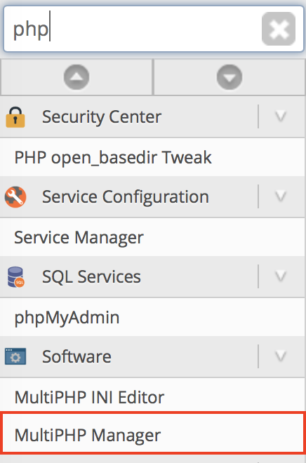 WHM MultiPHP Manager menu option highlighted.