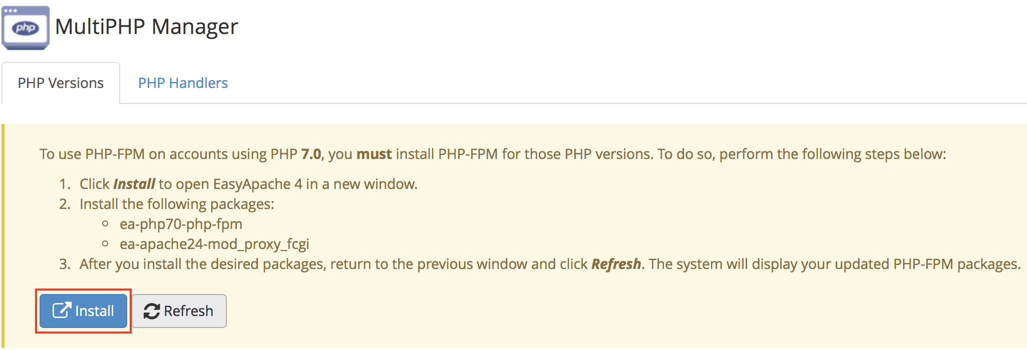 WHM MultiPHP Manager PHP-FPM Install button highlighted.
