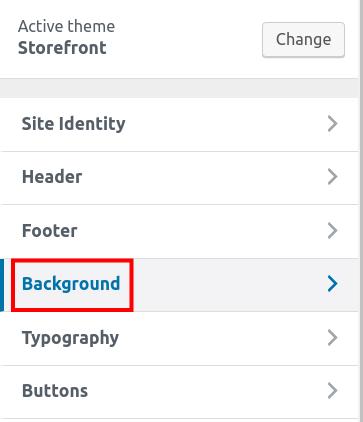 wordpress woocommerce storefront customize background customize background